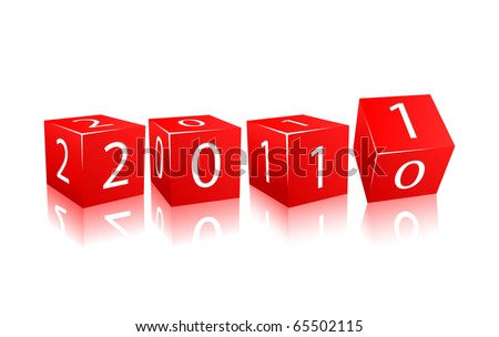 2011 year numbers on red cubes. Illustration isolated on white background - stock vector