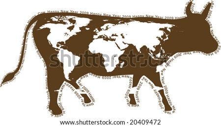 2009 - year of a cow. Chinese horoscope. Coloration of a cow in the form of a world map. A contour - a congratulatory text. - stock vector