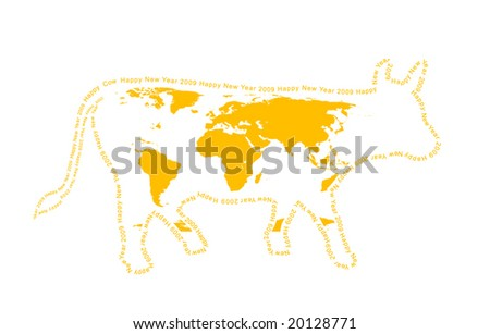2009 - year of a yellow cow. Coloration of a cow in the form of a world map. A contour - a congratulatory text. - stock vector