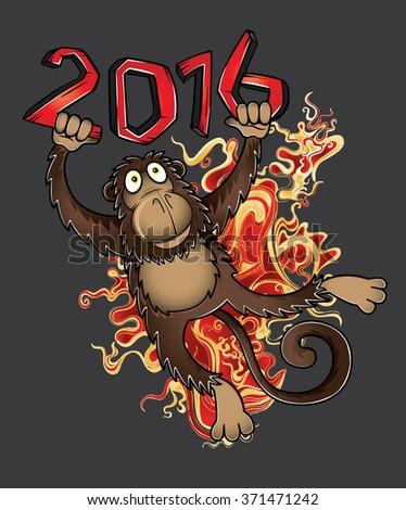 2016 Year of the monkey cartoon vector illustration - stock vector