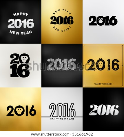 2016 - Year of the Monkey -Set of Typographic Designs in black and gold colours - stock vector