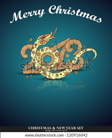 2013 Year of the snake. Christmas card - stock vector