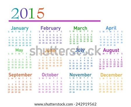 2015 year vector calendar - stock vector
