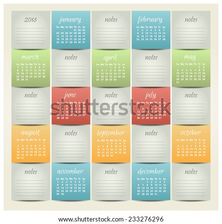 2015 year vector calendar for business wall calendar - stock vector