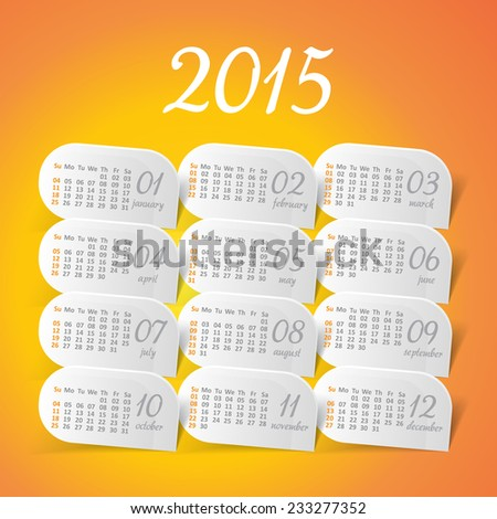 2015 year vector yellow calendar for business wall calendar - stock vector