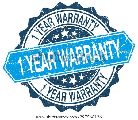 1 year warranty blue round grunge stamp on white - stock vector