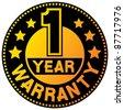 1 year warranty (one year warranty) - stock photo