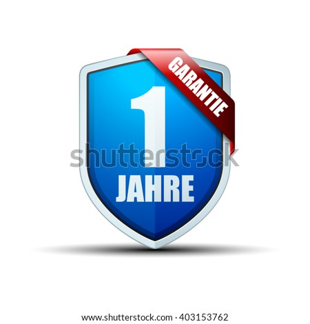 1 Year Warranty shield (non-English text - 1 Year Warranty) - stock vector