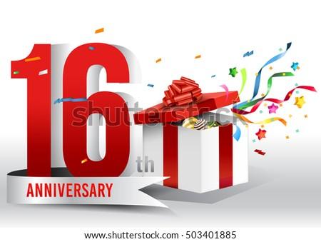 16 Years Anniversary Background Ribbon Confetti Stock