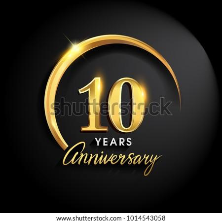 10 Years Anniversary Celebration Anniversary Logo Stock