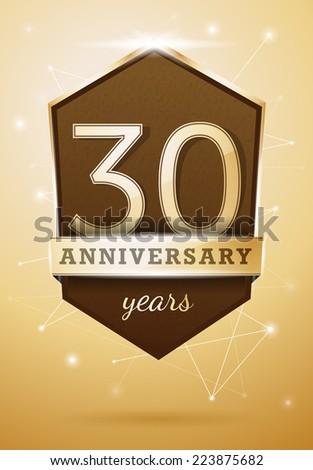 30 Years Anniversary Celebration Design Birthday Card - stock vector