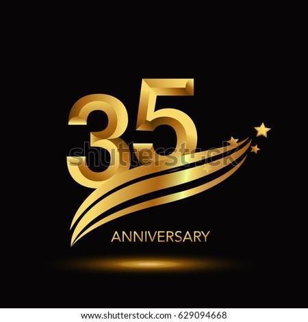 35 Years Anniversary Celebration Design Gold Stock Photo Photo
