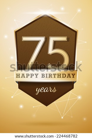 75 Years Anniversary Celebration Design Happy Birthday Card - stock vector