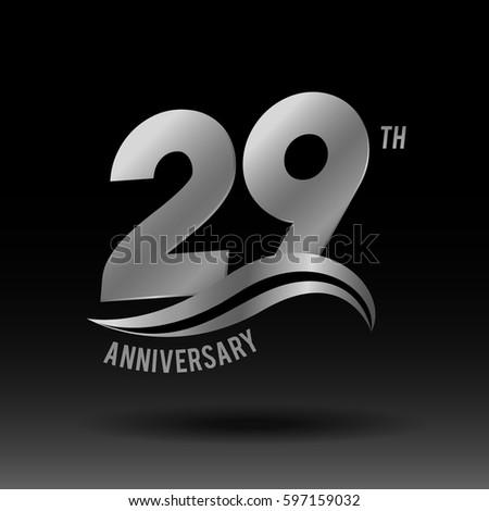 29 Years Anniversary Celebration Design Logo Stock Vector ...