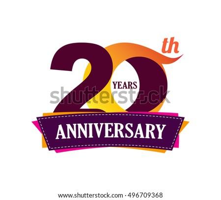 20 Years Anniversary Celebration Logo Design Stock Vector 2018