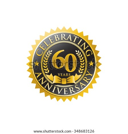 60 years anniversary golden black badge logo