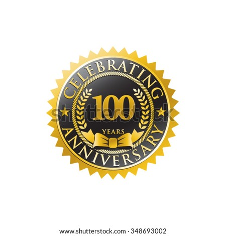 100 years anniversary golden black badge logo