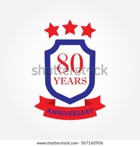 80 years anniversary icon or emblem. 80th anniversary label. Celebration, invitation and congratulation design element. Colorful vector illustration