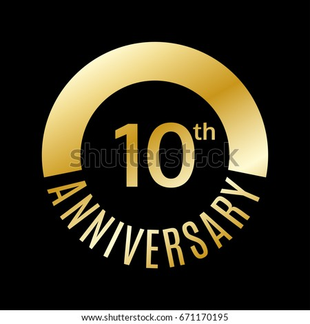 10 Years Anniversary Icon 10th Celebrating Stock Vector