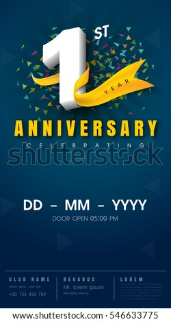 1 Years Anniversary Invitation Card Celebration Stock