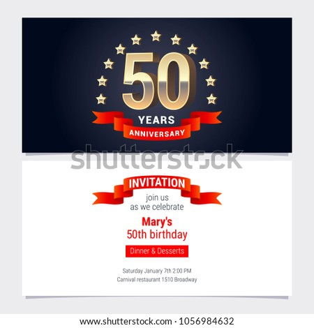 50 years anniversary invitation celebration vector stock vector 50 years anniversary invitation to celebration vector illustration graphic design element with golden number for stopboris Gallery