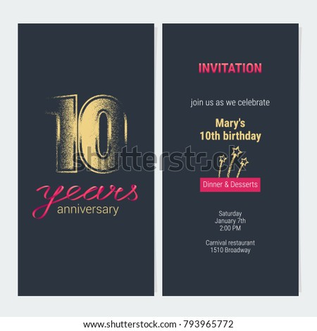 40 years anniversary invitation vector illustration stock vector 10 years anniversary invitation vector illustration graphic design template with golden glitter stamp for 10th stopboris
