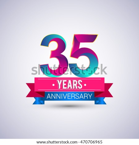 35 Years Anniversary Logo Blue Red Stock Vector Hd Royalty Free