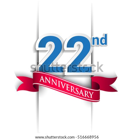 22 years anniversary logo, blue and red colored vector design on white background. template for Poster or brochure and invitation card.