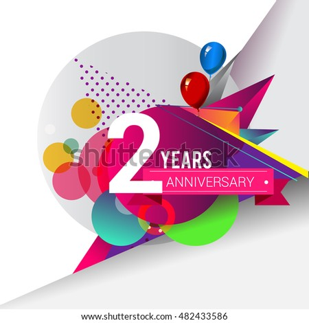 2 years Anniversary logo, Colorful geometric background vector design template elements for your birthday celebration.