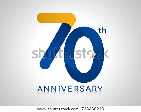 70 years anniversary logo design blue stock vector 743638948 70 years anniversary logo design with blue and old yellow color altavistaventures Image collections