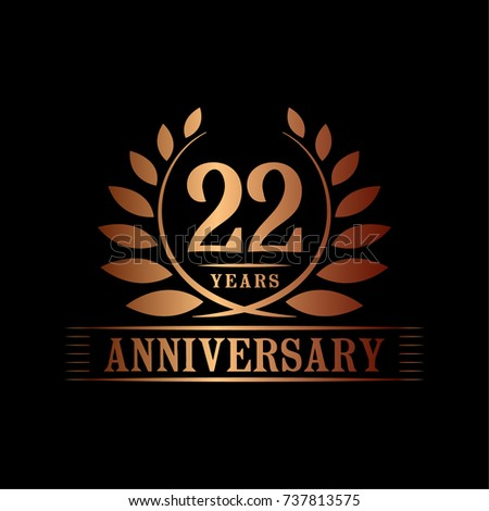 22 years anniversary logo template stock vector royalty free