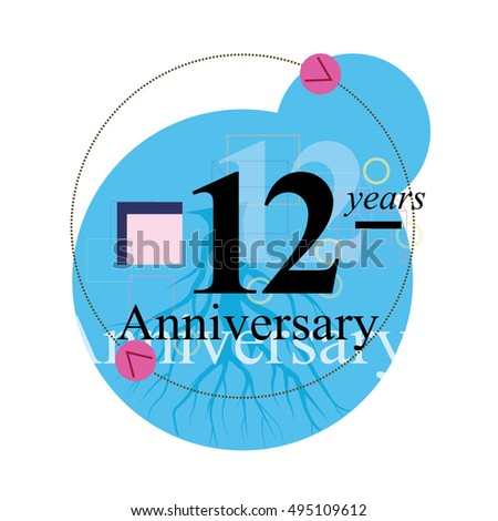 12 years anniversary logo with blue circle composition. anniversary logo for birthday, wedding, celebration, and party