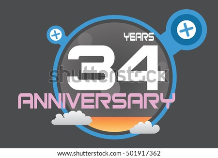 34 years anniversary logo with blue circle, orange liquid and clouds. anniversary logo for birthday, wedding, celebration and party