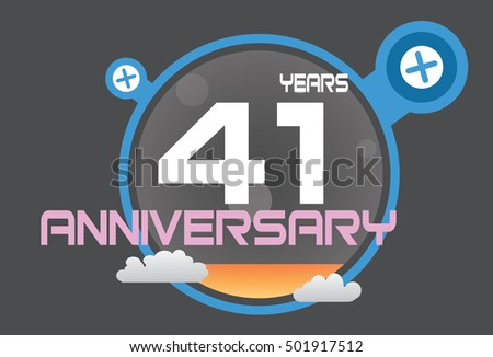 41 years anniversary logo with blue circle, orange liquid and clouds. anniversary logo for birthday, wedding, celebration and party