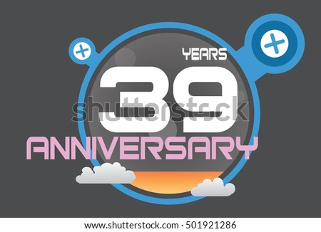 39 years anniversary logo with blue circle, orange liquid and clouds. anniversary logo for birthday, wedding, celebration and party