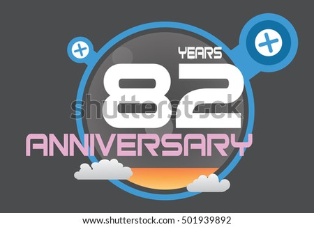 82 years anniversary logo with blue circle, orange liquid and clouds. anniversary logo for birthday, wedding, celebration and party