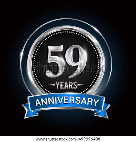 59 Years Anniversary Logo Silver Ring Stock Vector 499996408