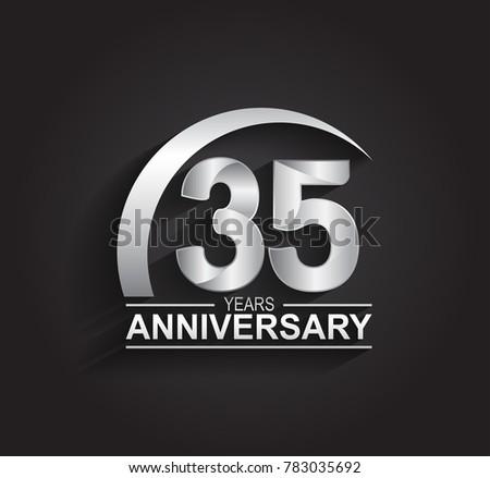 35 Years Anniversary Logotype Design Silver Stock Vector 2018