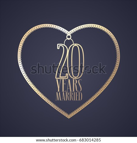 20 Years Anniversary Being Married Vector Stock Vector 683014285