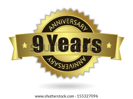 """9 Years Anniversary"" - Retro Golden Ribbon, EPS 10 vector illustration - stock vector"