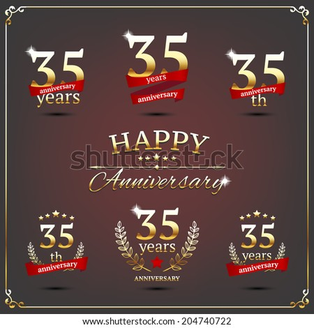 35 years anniversary signs collection - stock vector