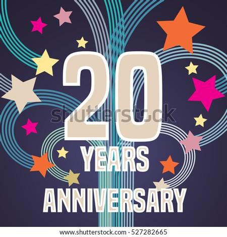 20 Years Anniversary Vector Illustration Banner Stock Vector