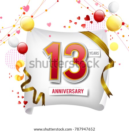 13 Years Anniversary Vector Illustration Banner Stock Vector