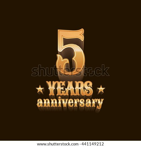 5 years anniversary vector logo. 5th birthday design, sign in gold