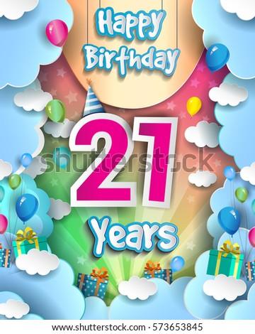 21 Years Birthday Celebration Design Greeting Stock Vector Hd