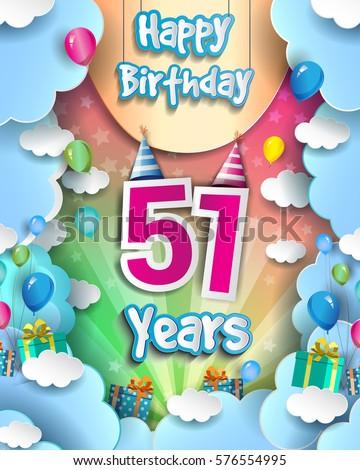 51 Years Birthday Celebration Design Greeting Stock Vector 576554995