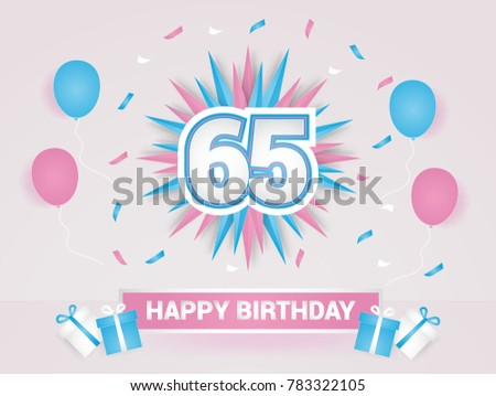 65 Years Colorful Happy Birthday Card Logotype Using Paper Cut Style