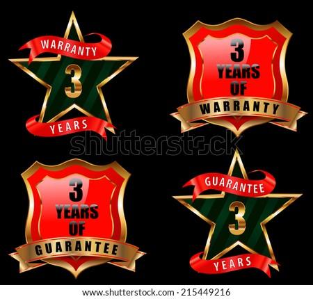 3 years guarantee and warranty badge, guarantee sign, warranty label - vector eps 10 - stock vector