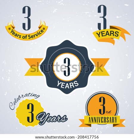 3 years of service/ 3 years / Celebrating 3 years / 3rd Anniversary - Set of Retro vector Stamps and Seal for business - stock vector