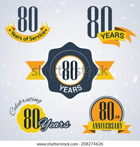 80 years of service/ 80 years / Celebrating 80 years / 80th Anniversary - Set of Retro vector Stamps and Seal for business - stock vector